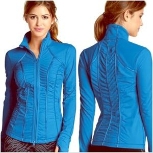 Zella Trinity jacket, blue meshed ruched style